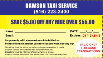Taxi Coupon for Long Island